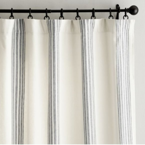 {1}  Striped Linen/Cotton Rod Pocket Curtain-NWOT